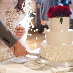 Happy bride and groom cut a wedding cake